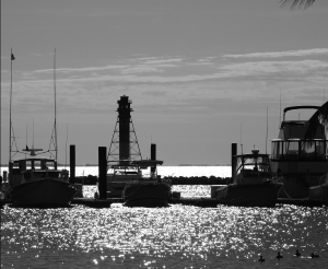 Lighthouse w-water bw